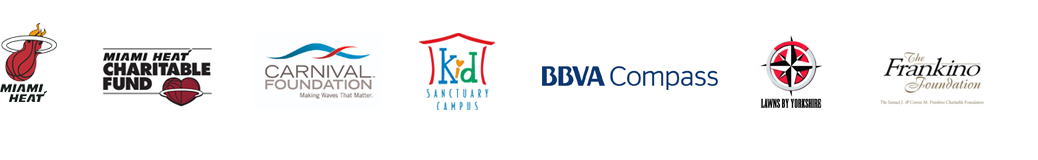 Community Partners Logos: Miami Heat, Miami Heat Charity Fund, Carnival Foundation, Kid Sanctuary Campus, BBVA Compass, Lawns By Yorkshire, The Frankino Foundation
